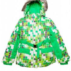 Jacheta cu gluga Stella, pentru fetite, 122/128, Verde/Alb