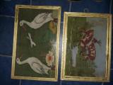 Tablouri vechi tesute tip goblen,tablou vintage cusut manual traditional Romanes