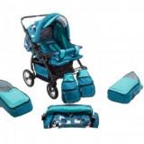 Carucior Gemeni Copii 0-3 Ani Duet Blue -Turquoise