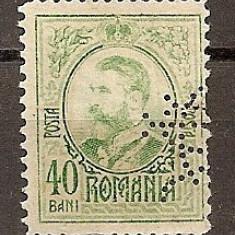 "SD Romania 1908 LP66- Carol I gravate, 40 Bani, PERFIN ""BCR"", Stampilat"