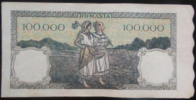 Bancnota 100000 lei - ROMANIA, anul 1946 / Octombrie *cod 58 foto