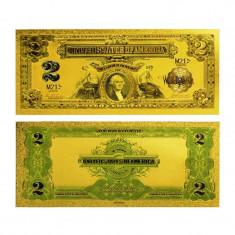 S.U.A. - 2 DOLARI 1899 - BANCNOTA POLYMER PLACATA CU AUR 24K - bancnota america