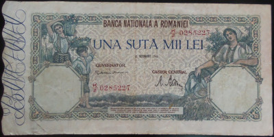 Bancnota 100000 lei - ROMANIA, anul 1946 / Octombrie *cod 57 foto