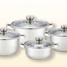 Set oale inox cu capace sticla 8 piese GR1056 - oala, cratita