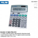Calculator Milan 924, 14 digits, taste plastic, fata metalica. - Calculator Birou