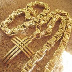 SET Lant+ medalion +BRATARA INOX placat =90 ron - Set bijuterii inox
