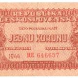 SV * Cehoslovacia  1  KORUNU / 1  COROANA  1944   ocup.  URSS  WWII     F+ / -VF