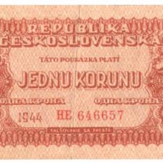 SV * Cehoslovacia JEDNU KORUNU / 1 COROANA 1944 ocup. URSS WWII +/-F - bancnota europa