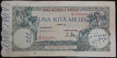 Bancnota 100000 lei - ROMANIA, anul 1946 / Octombrie *cod 50 foto