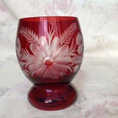 Pahar din cristal rubin, gravat manual - Pahare