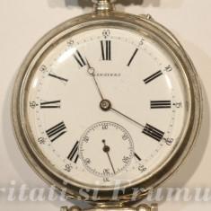 CEAS DE ARGINT MARCA LONGINES-1889-FUNCTIONEAZA FOARTE BINE - Ceas barbatesc Longines, Elegant, Mecanic-Manual, Piele, Analog
