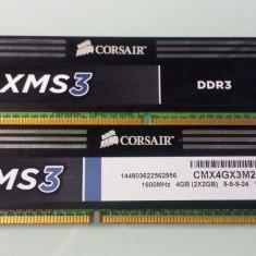 RAM CORSAIR XMS 3, ddr3, 4 GB (2x2 GB) 1600MHz C9 - Memorie RAM