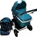 Cărucior nou născut 3 in 1 Baby Care YK 18-19 Albastru turcuaz