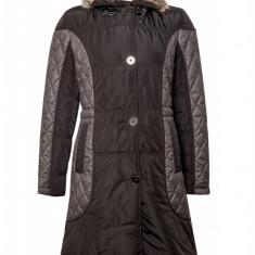 Jacheta de iarna lunga Tesini, de dama, Negru/Gri