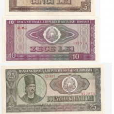 ROMANIA RSR 1, 3, 5, 10, 25, 50, 100 LEI 1966 XF - pret per lot - Bancnota romaneasca
