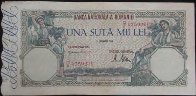 Bancnota 100000 lei - ROMANIA, anul 1946 / Octombrie *cod 53 foto