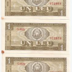 ROMANIA 1 LEU 1966 AUNC SERIE CONSECUTIVA - pret per lot - Bancnota romaneasca