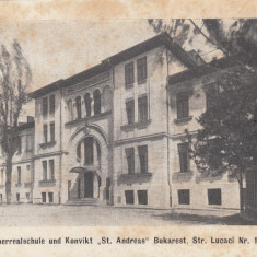 BUCURESTI SCOALA ST. ANDREAS STRADA LUCACI NR. 11 - Carte Postala Muntenia 1904-1918, Necirculata, Printata