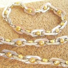 SET Lant +bratara INOX placat = 80 ron - Set bijuterii inox