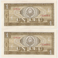 ROMANIA 1 LEU 1966 UNC SERIE CONSECUTIVA - pret per lot - Bancnota romaneasca