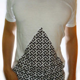 Tricou alb negru - tricou bumbac tricou barbat tricou slim fit - cod 1A
