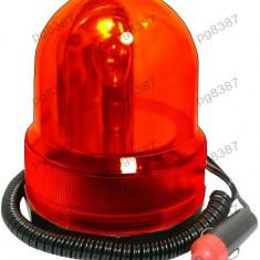 Girofar auto, lumina rosie, 12V, fixare magnetica - 113417