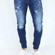 Blugi barbati conici albastri prespalati zgariati elastici slimfit casual fashio, Marime: 30, 36, Culoare: Albastru, Lungi