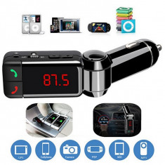 Modulator-Incarcator auto Bluetooth dual port cu MP3, Radio, handsfree, display - Modulator FM auto