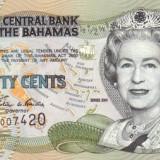 Bahamas 1/2 Dolari - 50 centi 2001 P-68 UNC !!! - bancnota america