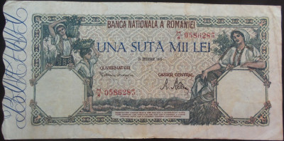 Bancnota 100000 lei - ROMANIA, anul 1946 / Decembrie  *cod 72 foto