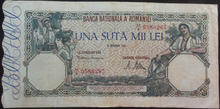 Bancnota 100000 lei - ROMANIA, anul 1946 / Decembrie  *cod 72