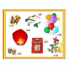 Set Accesorii Articole Petrecere Aniversari Lampioane, Baloane, Trompete, Lumanari