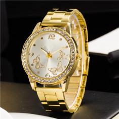 Ceas dama fantezie auriu metalic + ambalaj cadou