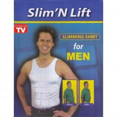 Corset de slabit maieu modelator barbati Slim n Lift Slimming Shirt, Marime: S, M, L, XXL, XXXL, Culoare: Alb