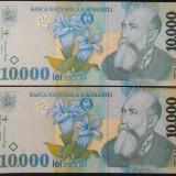 Lot / Set 2 Bancnote Serii Consecutive 10000 Lei ROMANIA, anul 1999 *cod 610 UNC - Bancnota romaneasca