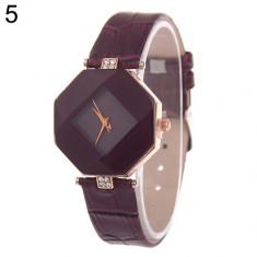 NOU Ceas dama tip diamant hexagon strasuri fashion mov GENEVA curea piele eco, Elegant, Quartz