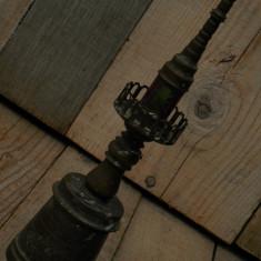 LAMPĂ VECHE DE BIROU FĂCUTĂ DIN BRONZ ȘI STICLĂ COLORATĂ, DECORAȚIUNE FAR MARIN!