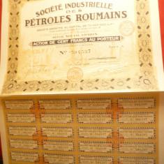 Actiune la Firma SIPER - Soc.Industrielle des Petroles Roumain 1926 de 100 Fr