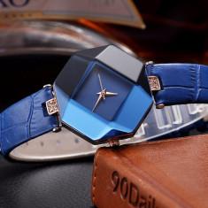 NOU Ceas dama tip diamant hexagon strasuri fashion albastru GENEVA curea piele, Elegant, Quartz