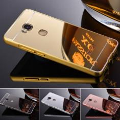 Bumper Aluminiu HUAWEI P8 Lite 2017 / P9 Lite 2017 + Capac Mirror Rose Gold - Husa Telefon Huawei, Roz, Metal / Aluminiu, Fara snur, Carcasa