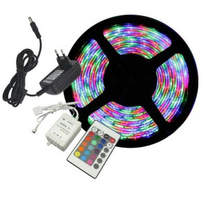 Kit Banda Led Leduri Smd 3528 / 5 Metri Controler Telecomanda Si Alimentator