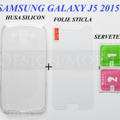 HUSA SAMSUNG GALAXY J5 (2015) SILICON SLIM TRANSPARENTA + FOLIE STICLA ECRAN - Husa Telefon