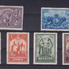 ROMANIA 1929, LP 82, 10 ANI DE LA UNIREA TRANSILVANIEI SERIE CU SARNIERA - Timbre Romania, Nestampilat