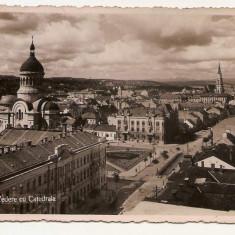 Cp Cluj Napoca vedere cu Catedrala - Carte Postala Transilvania dupa 1918, Circulata, Printata