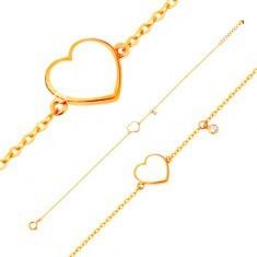 Brățară din aur 585 - inimă albă emailată și zirconiu transparent, lanț subțire - Bratara aur