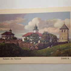 SALUTARE DIN SUCEAVA- ZAMCA, carte postala litografiata, cca 1900-1910 - Carte Postala Bucovina pana la 1904, Necirculata, Printata