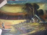 Tablou vechi pictat de pictorul Voineag I.pictura pe panza,,Sat de pescari,,