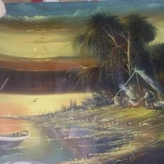 Tablou vechi pictat de pictorul Voineag I.pictura pe panza,,Sat de pescari,,, Natura, Ulei, Realism