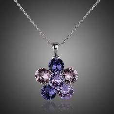 Colier floare mov placat cu aur si cristale - Colier fashion