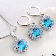 Set bijuterii cu cristale bleu - Set bijuterii handmade si fashion
